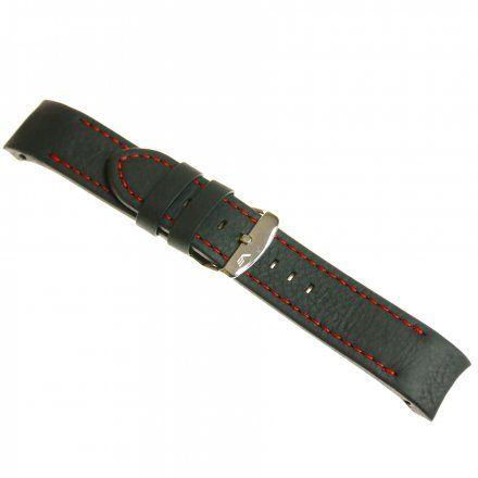 Pasek do zegarka Vostok EuropePasek Anchar - Skóra (5141) czarny z czerwonym przeszyciem błyszcząca klamrą