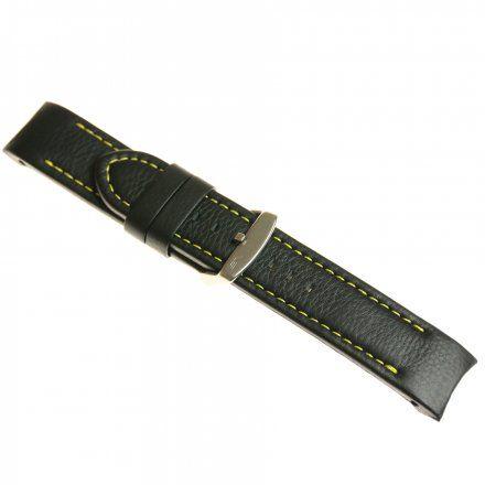 Pasek do zegarka Vostok Europe Pasek Anchar - Skóra (5143) czarny z żółtym przeszyciem matowa klamrą