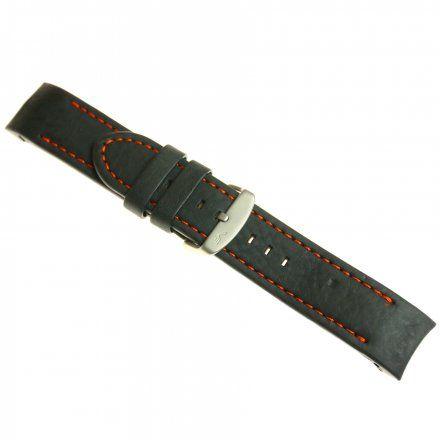 Pasek do zegarka Vostok Europe Pasek Anchar - Skóra (7173) czarny z pomarańczowym przeszyciem matowa klamra