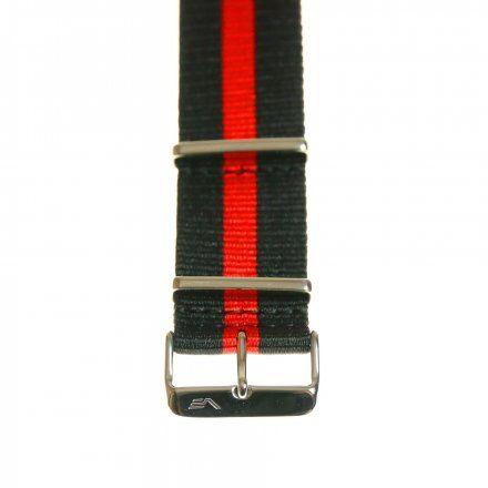Pasek do zegarka Vostok Europe Pasek Anchar - Nylon (5141) czarny z czerwonym środkiem błyszcząca klamrą