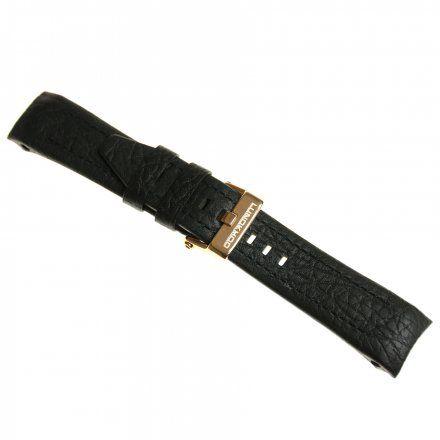 Pasek do zegarka Vostok Europe Pasek Lunokhod - Skóra (3211) czarny z czarnym przeszyciem różowa klamra