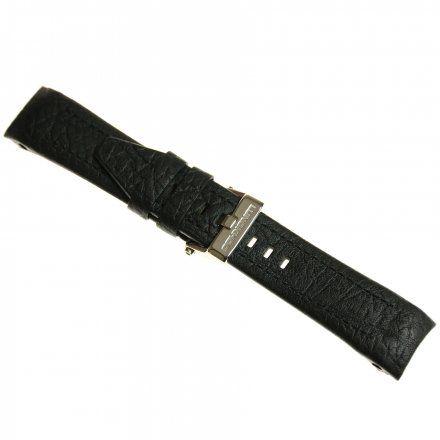 Pasek do zegarka Vostok Europe Pasek Lunokhod - Skóra (5210) czarny z czarnym przeszyciem błyszcząca klamra