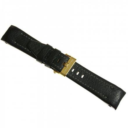Pasek do zegarka Vostok Europe Pasek Lunokhod - Skóra (E277) czarny z szarym przeszyciem złotą klamrą