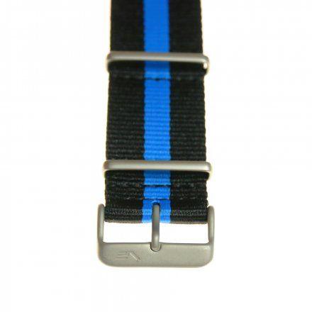 Pasek do zegarka Vostok Europe Pasek Lunokhod - Nylon (5213) czarny z niebieskim środkiem matowa klamra