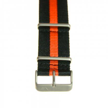 Pasek do zegarka Vostok Europe Pasek Lunokhod - Nylon (A506) czarny z pomarańczowym środkiem matowa klamra