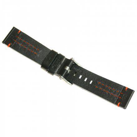Pasek do zegarka Vostok Europe Pasek Ekranoplan 2 - Skóra (A509) czarny z pomarańczowym przeszyciem matowa klamra