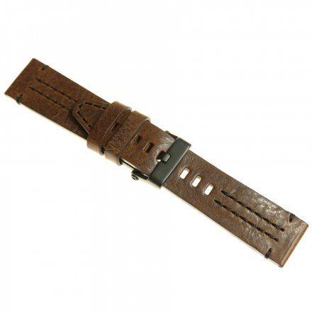 Pasek do zegarka Vostok Europe Pasek Ekranoplan 2 - Skóra (C513) brązowy z czarnym przeszyciem czarna klamra