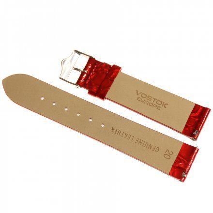 Pasek do zegarka Vostok Europe Pasek Rocket N1 - Damski (5162) czerwony perłowy stalowa klamra