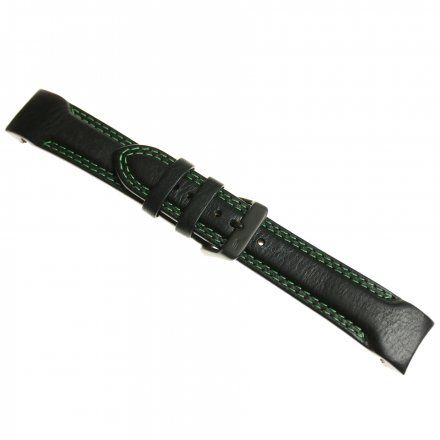 Pasek do zegarka Vostok Europe Pasek Rocket N1 - Skóra (4252) czarny z zielonym przeszyciem czarna klamra