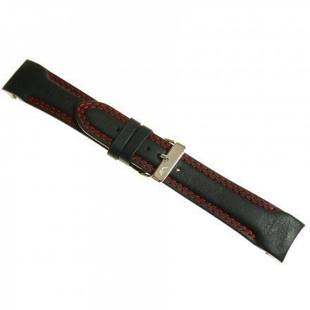 Pasek do zegarka Vostok Europe Pasek Rocket N1 - Skóra (5295) czarny z czerwonym przeszyciem błyszcząca klamra