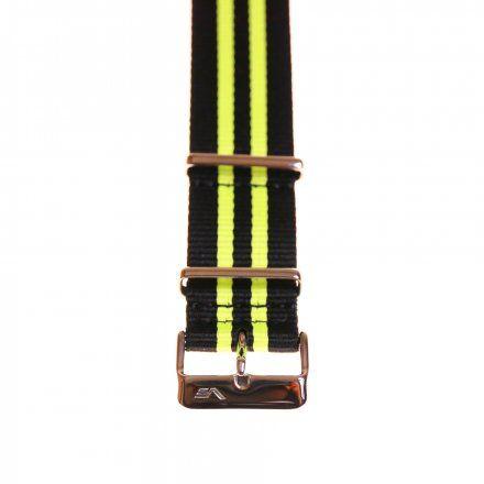 Pasek do zegarka Vostok Europe Pasek Rocket N1 - Nylon (5253) czarny z seledynowym środkiem błyszcząca klamra