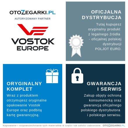 Pasek do zegarka Vostok Europe Pasek Almaz - Skóra (A258) czarny z białym przeszyciem  błyszcząca klamra