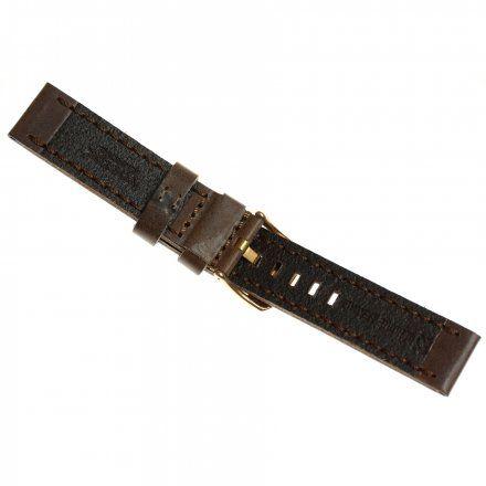 Pasek do zegarka Vostok Europe Pasek Almaz - Skóra (B262) brązowy klamra różowe złoto