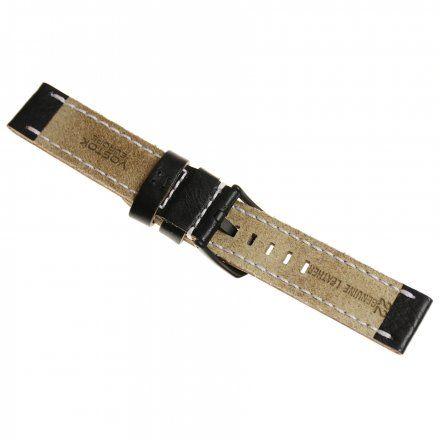 Pasek do zegarka Vostok Europe Pasek Almaz - Skóra (C257) czarny z białym przeszyciem czarna klamra