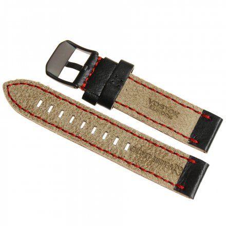 Pasek do zegarka Vostok Europe Pasek Almaz - Skóra (C260) czarny z czerwonym przeszyciem czarna klamra