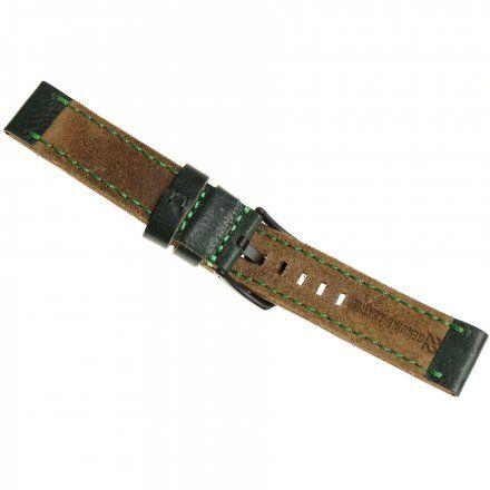 Pasek do zegarka Vostok Europe Pasek Almaz - Skóra (C261) zielony z zielonym przeszyciem czarna klamra