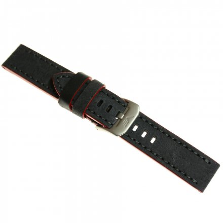 Pasek do zegarka Vostok Europe Pasek Almaz - Skóra (H391) szaro-czerwony matowa klamra