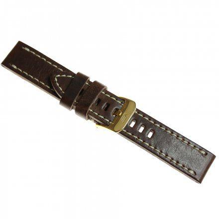 Pasek do zegarka Vostok Europe Pasek Almaz - Skóra (H521) brązowy z białym przeszyciem złota klamra