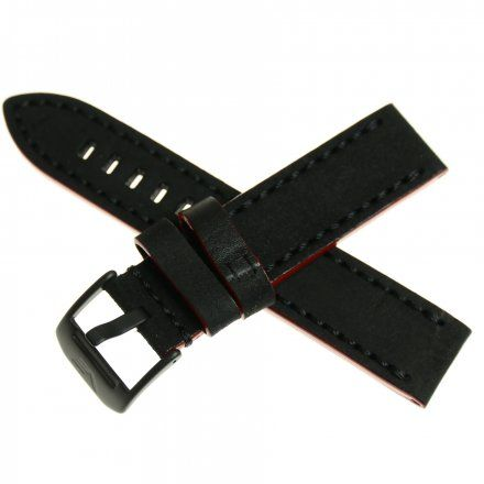 Pasek do zegarka Vostok Europe Pasek Almaz - Skóra (J390) czarno-czerwony czarna klamra