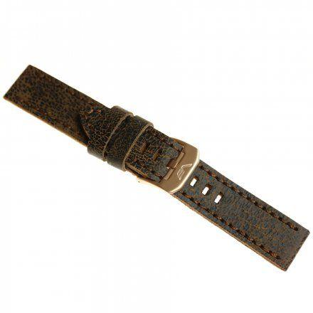 Pasek do zegarka Vostok Europe Pasek Almaz - Skóra (O507) brązowy klamra różowe złoto