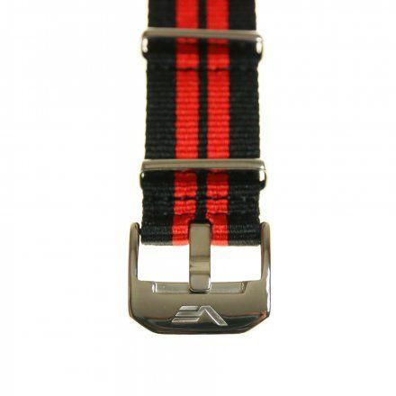 Pasek do zegarka Vostok Europe Pasek Almaz - Nylon (A258) czarny z czerwonym środkiem błyszcząca klamra
