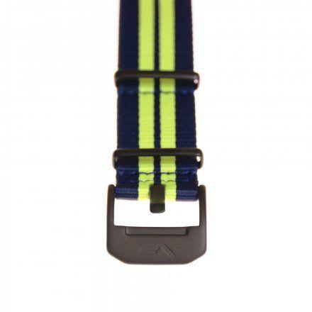 Pasek do zegarka Vostok Europe Pasek Almaz - Nylon (C257) niebieski z seledynowym środkiem czarna klamra
