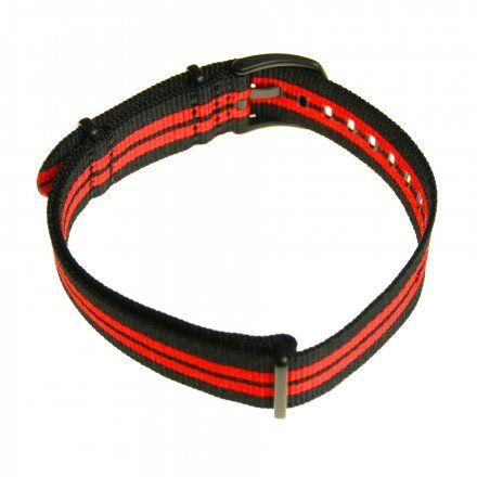 Pasek do zegarka Vostok Europe Pasek Almaz - Nylon (C260) czarny z czerwonym środkiem czarna klamra