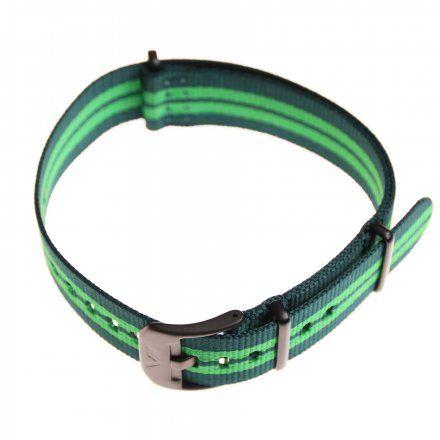Pasek do zegarka Vostok Europe Pasek Almaz - Nylon (C261) zielony z zielonym środkiem czarna klamra