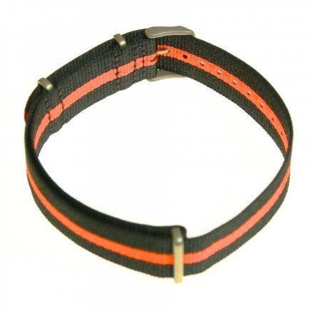 Pasek do zegarka Vostok Europe Pasek Almaz - Nylon (H263) czarny z pomarańczowym środkiem matowa klamra