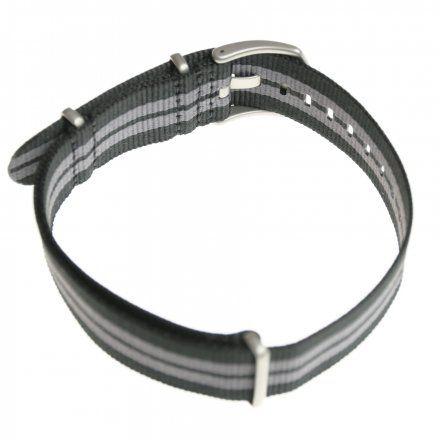 Pasek do zegarka Vostok Europe Pasek Almaz - Nylon (H264) czarny z szarym środkiem matowa klamra