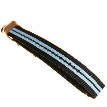 Pasek do zegarka Vostok Europe Pasek Almaz - Nylon (O266) czarny z niebieskim środkiem klamra różowe złoto