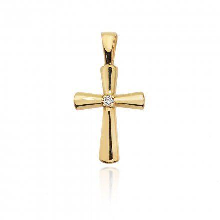 Biżuteria SAXO 14K Zawieszka krzyżyk  0,0145ct K-3 Złoto z diamentem