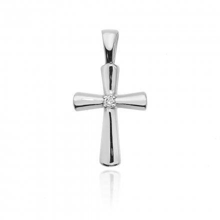 Biżuteria SAXO 14K Zawieszka krzyżyk  0,0145ct K-3 Białe złoto z diamentem
