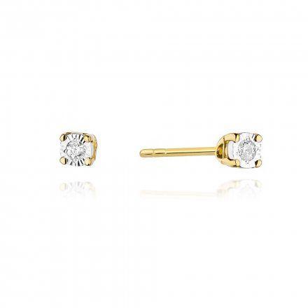 Biżuteria SAXO 14K Kolczyki z diamentami 0,06ct CK-58 Złoto