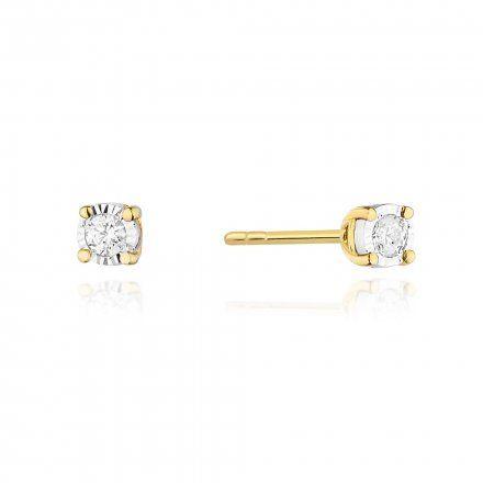 Biżuteria SAXO 14K Kolczyki z diamentami 0,16ct CK-58 Złoto