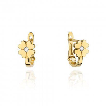 Biżuteria SAXO 14K Kolczyki z diamentami 0,06ct CK-60 Złoto
