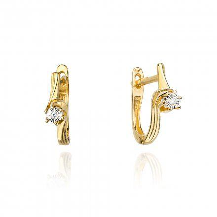 Biżuteria SAXO 14K Kolczyki z diamentami 0,02ct CK-63 Złoto