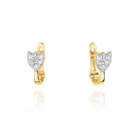 Biżuteria SAXO 14K Kolczyki z diamentami 0,14ct CK-64 Złoto