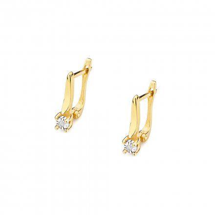 Biżuteria SAXO 14K Kolczyki z diamentami 0,02ct CK-65 Złoto