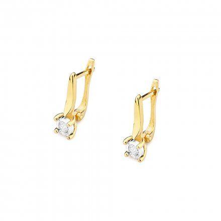 Biżuteria SAXO 14K Kolczyki z diamentami 0,16ct CK-65 Złoto