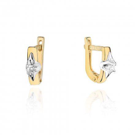 Biżuteria SAXO 14K Kolczyki z diamentami 0,08ct CK-88 Złoto