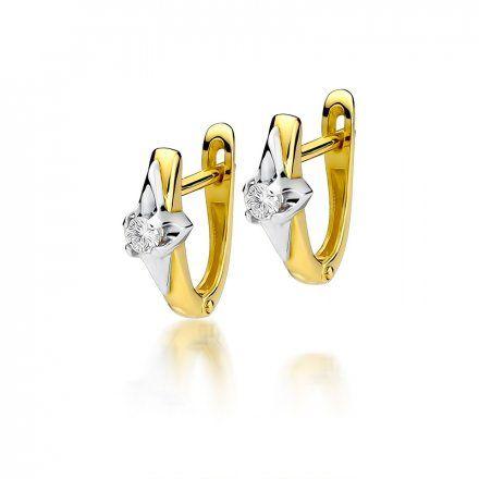 Biżuteria SAXO 14K Kolczyki z diamentami 0,20ct CK-88  Złoto