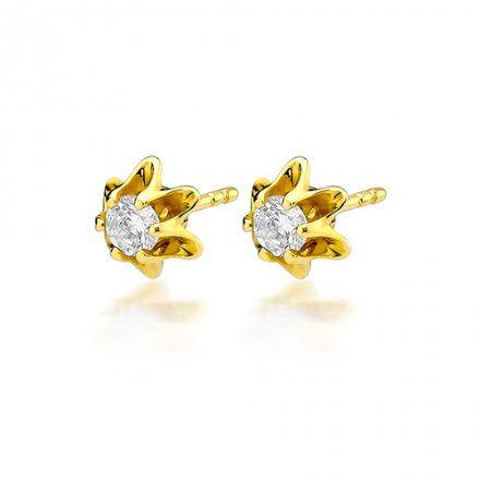 Biżuteria SAXO 14K Kolczyki z diamentami 0,40ct CK-152  Złoto