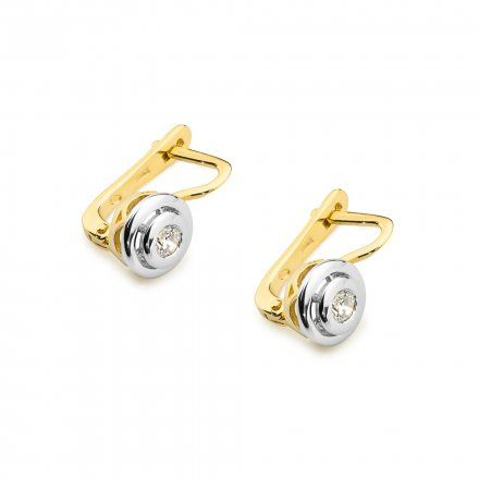 Biżuteria SAXO 14K Kolczyki z diamentami 0,20ct CK-294 Złoto