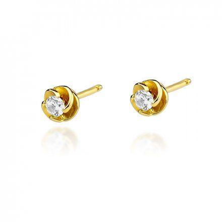 Biżuteria SAXO 14K Kolczyki z diamentami 0,16ct CK-329 Złoto