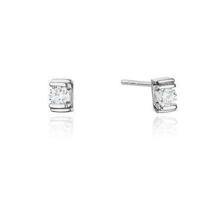 Biżuteria SAXO 14K Kolczyki z diamentami 0,20ct CK-343 Białe Złoto