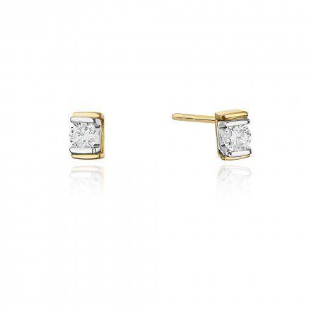 Biżuteria SAXO 14K Kolczyki z diamentami 0,20ct CK-343 Złoto