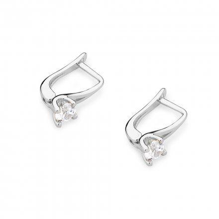 Biżuteria SAXO 14K Kolczyki z diamentami 0,40ct CK-381 Białe Złoto