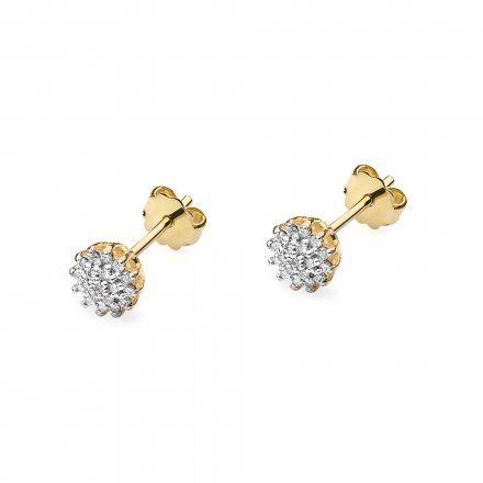 Biżuteria SAXO 14K Kolczyki z diamentami 0,20ct CK-401 Złoto
