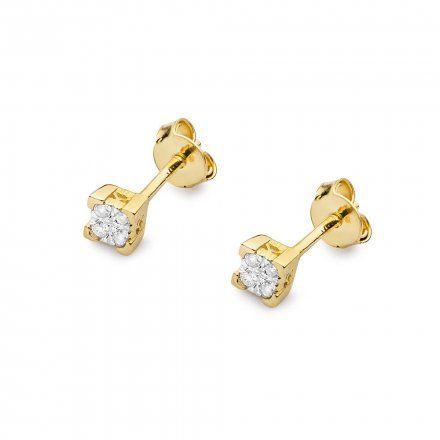 Biżuteria SAXO 14K Kolczyki z diamentami 0,16ct CK-402 Złoto